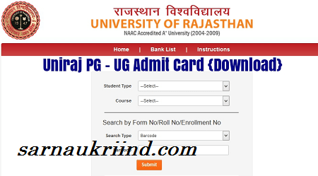 Uniraj Time Table 2018 Rajasthan University Admit Card Download 2018